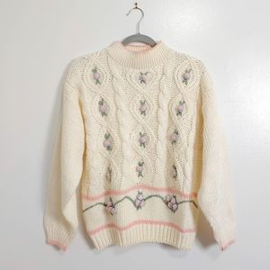Vintage Mock Neck Sweater Pastel Floral Fairy Kei